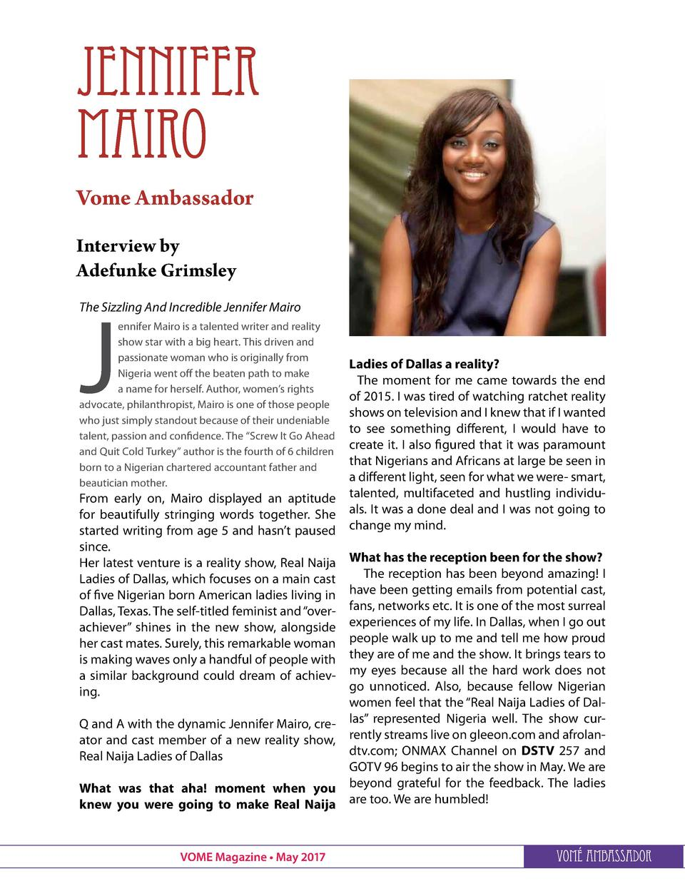 Jennifer MAIro Vome Ambassador Interview by Adefunke Grimsley  J  The Sizzling And Incredible Jennifer Mairo ennifer Mairo...