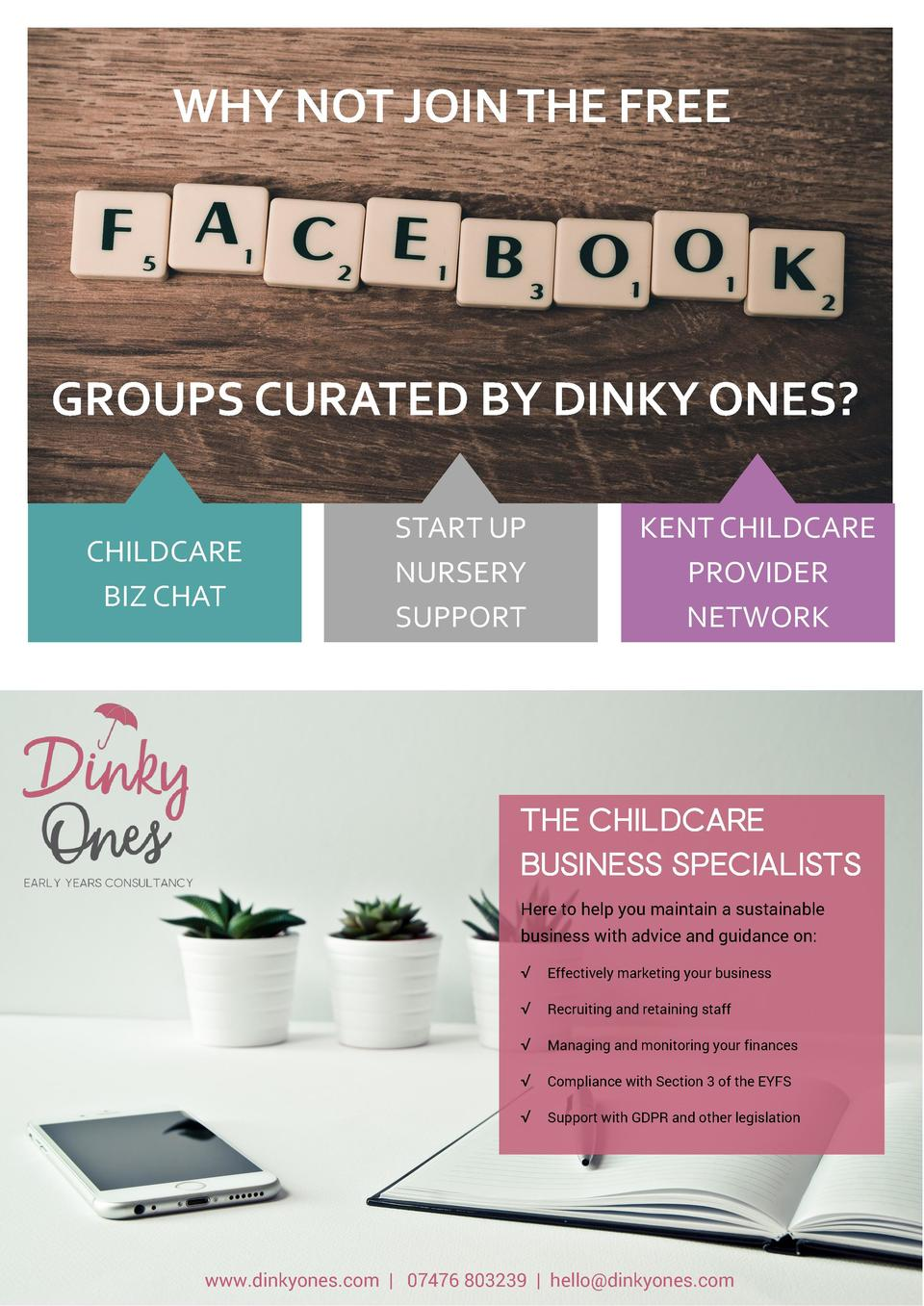 WHY NOT JOIN THE FREE  GROUPS CURATED BY DINKY ONES  CHILDCARE BIZ CHAT  START UP NURSERY SUPPORT  KENT CHILDCARE PROVIDER...
