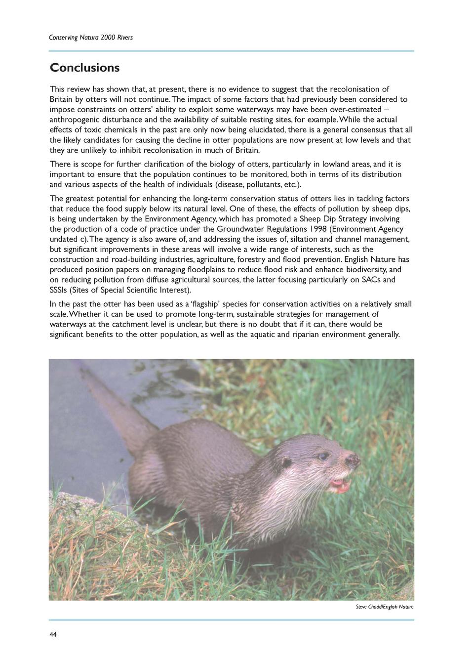 Conserving Natura 2000 Rivers  Conclusions This review has shown that, at present, there is no evidence to suggest that th...