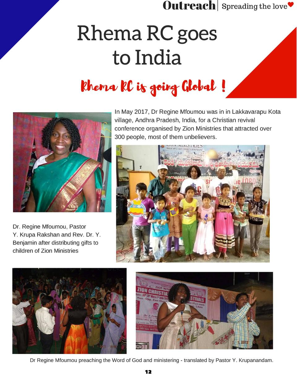Outreach   Spreading the love  Rhema RC goes to India Rhema RC is going Global   In May 2017, Dr Regine Mfoumou was in in ...