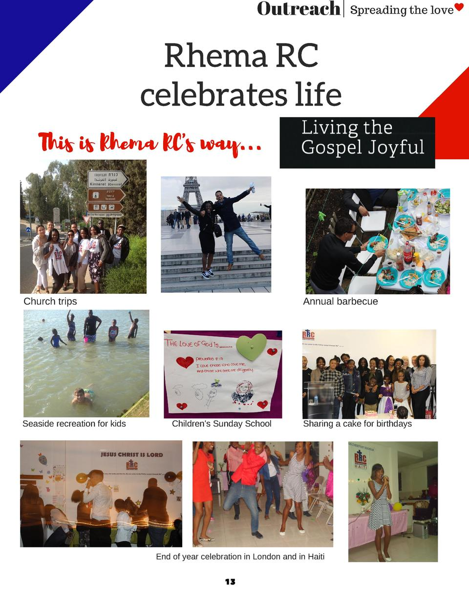 Outreach   Spreading the love  Rhema RC celebrates life This is Rhema RC s way...  Church trips  Seaside recreation for ki...