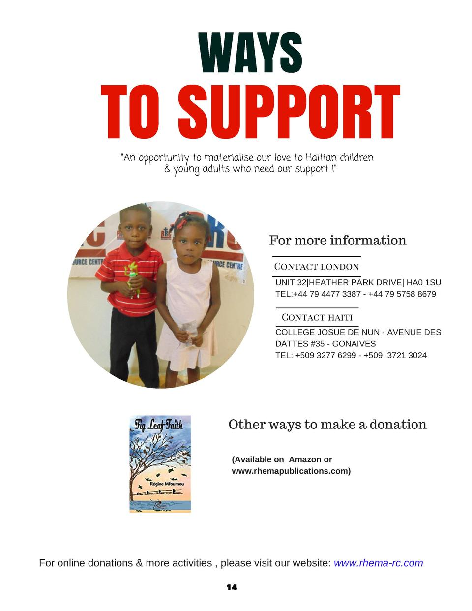 WAYS  TO SUPPORT  An opportunity to materialise our love to Haitian children      young adults who need our support     Fo...