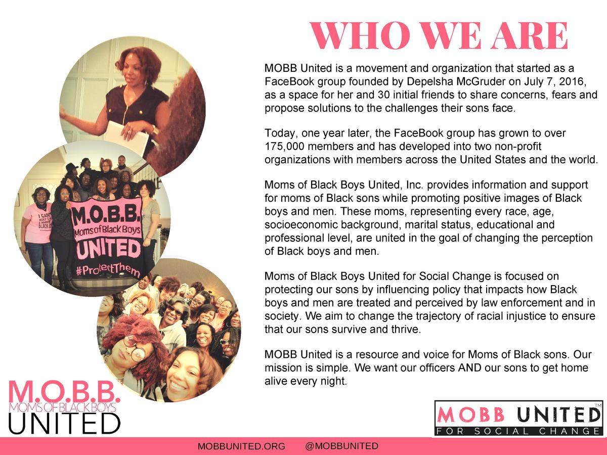 WHO WE ARE MOBB United is a movement and organization that started as a FaceBook group founded by Depelsha McGruder on Jul...