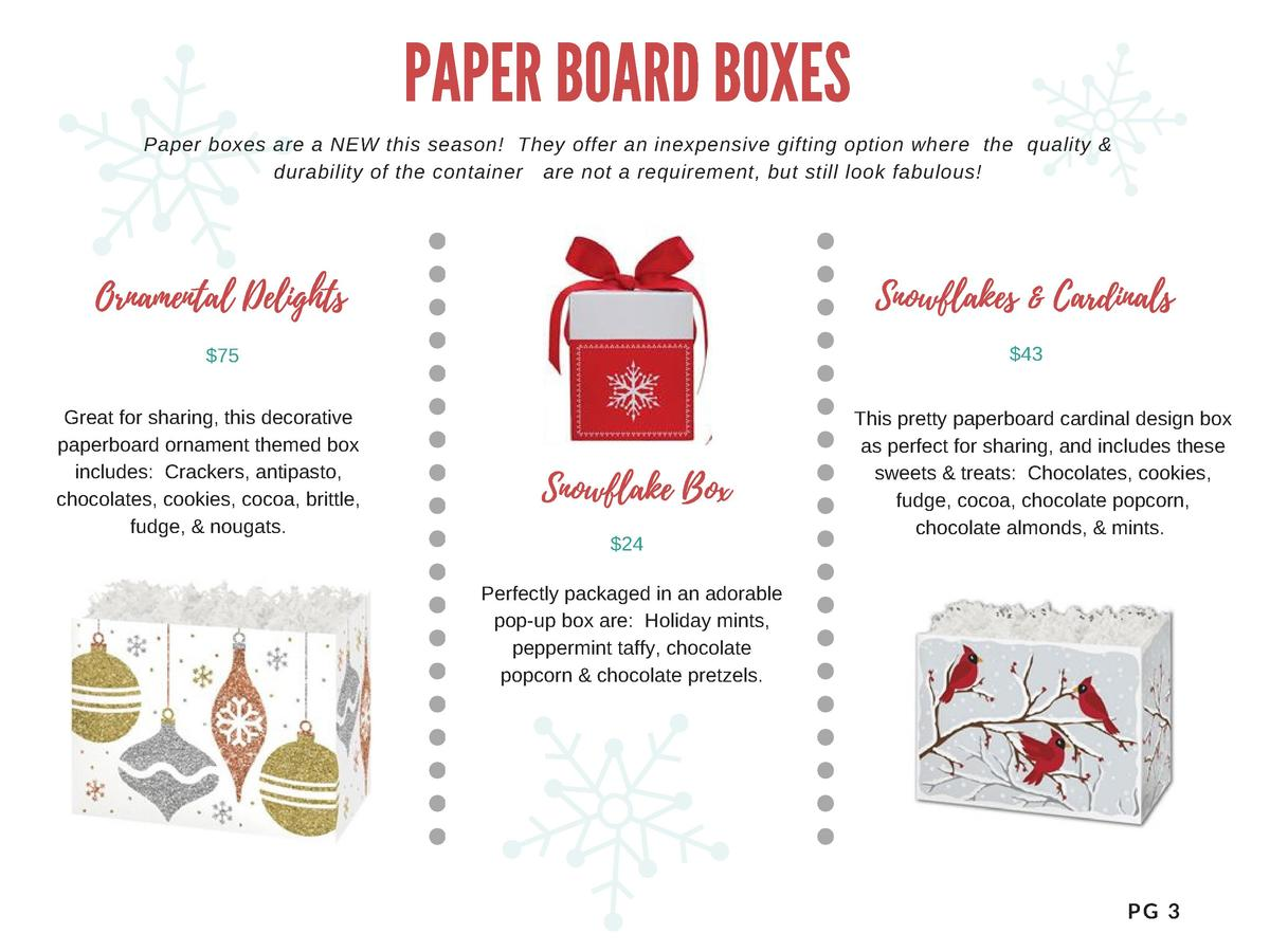 PAPER BOARD BOXES Paper boxes are a NEW this season  They offer an inexpensive gifting option where the quality   durabili...