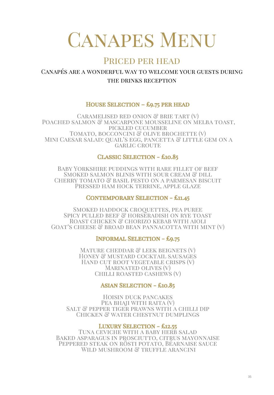 Canapes Menu Priced per head Canap  s are a wonderful way to welcome your guests during the drinks reception  House Select...