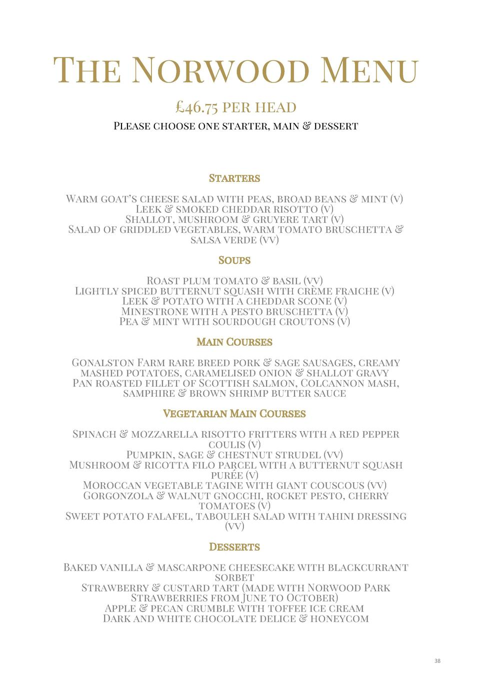 The Norwood Menu   46.75 per head Please choose one starter, main   dessert  Starters  Warm goat   s cheese salad with pea...