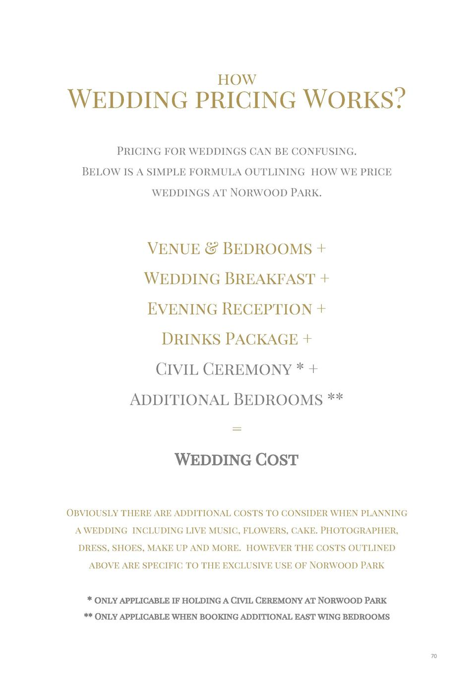 how  Wedding pricing Works  Pricing for weddings can be confusing. Below is a simple formula outlining how we price weddin...