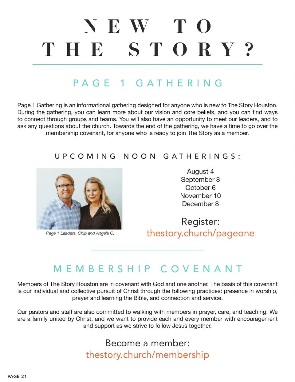N E W T O T H E S T O R Y   PA G E  1  G AT H E R I N G  Page 1 Gathering is an informational gathering designed for anyon...