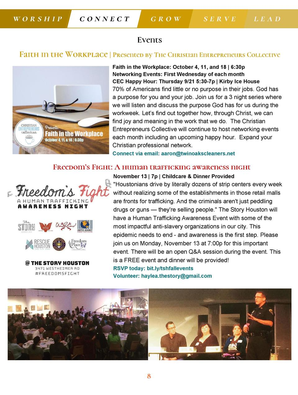worship  connect  grow  serve  lead  Events Faith in the Workplace   Presented by The Christian Entrepreneurs Collective F...