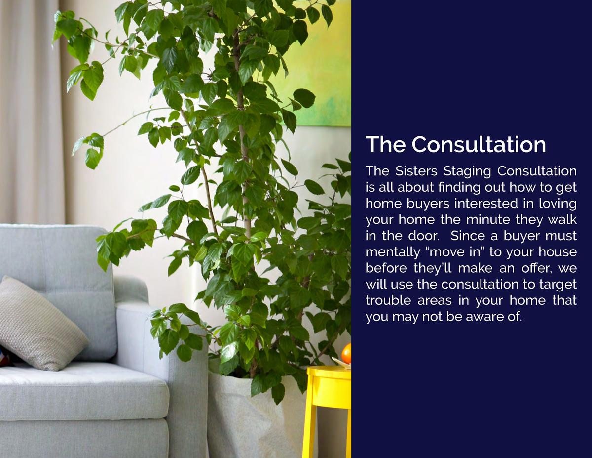 The Consultation The Sisters Staging Consultation is all about    nding out how to get home buyers interested in loving yo...