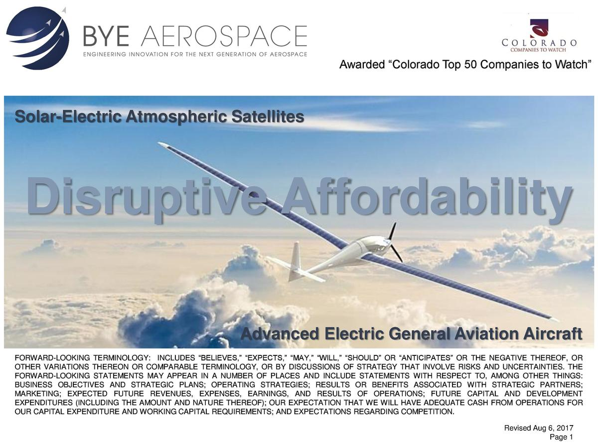 Awarded    Colorado Top 50 Companies to Watch     Solar-Electric Atmospheric Satellites  Disruptive Affordability Advanced...