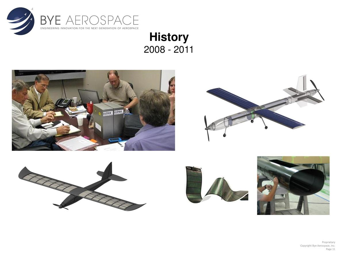 History 2008 - 2011  Proprietary Copyright Bye Aerospace, Inc. Page 11