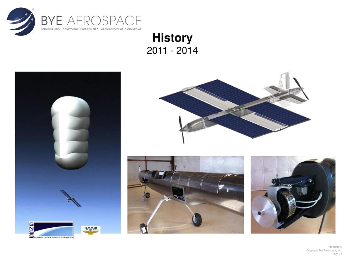 History 2011 - 2014  Proprietary Copyright Bye Aerospace, Inc. Page 12