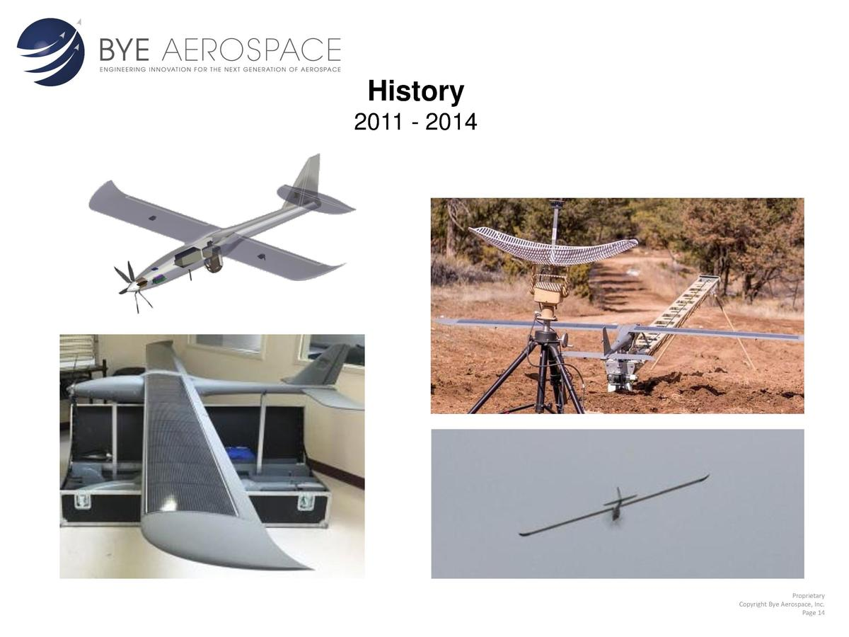 History 2011 - 2014  Proprietary Copyright Bye Aerospace, Inc. Page 14