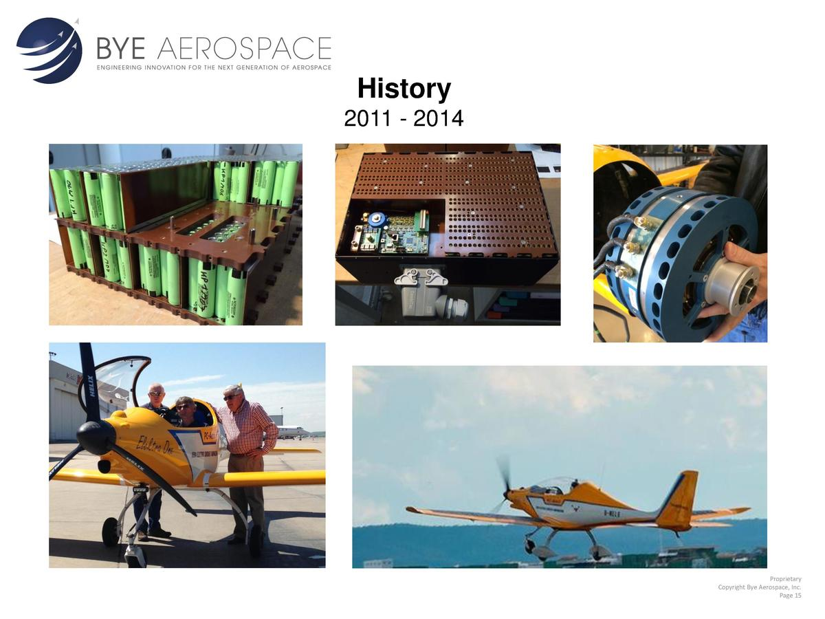 History 2011 - 2014  Proprietary Copyright Bye Aerospace, Inc. Page 15
