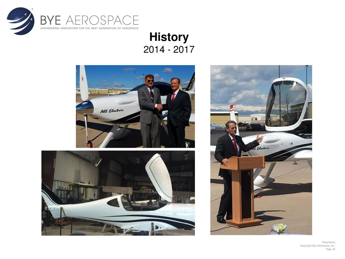 History 2014 - 2017  Proprietary Copyright Bye Aerospace, Inc. Page 16