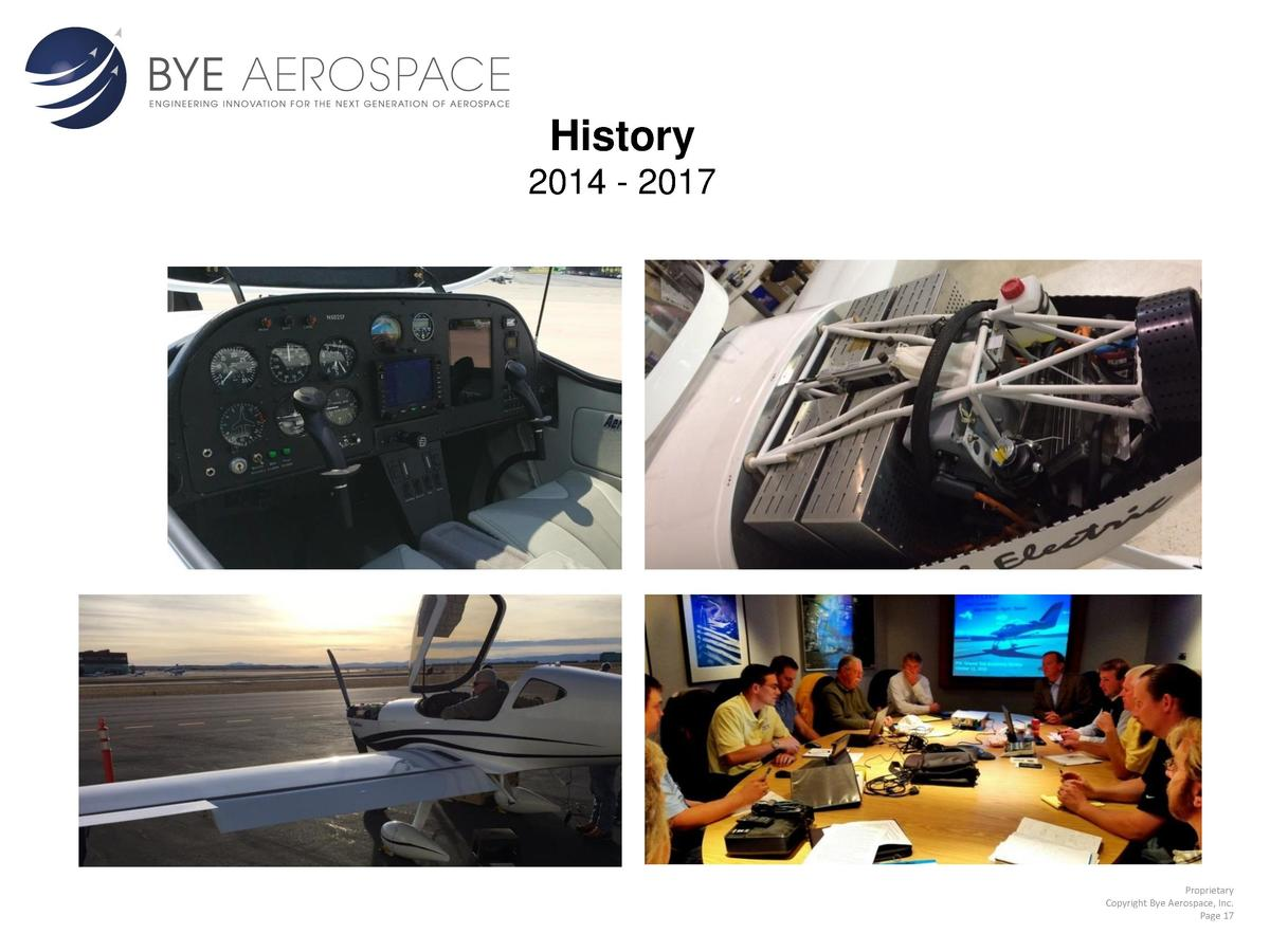 History 2014 - 2017  Proprietary Copyright Bye Aerospace, Inc. Page 17