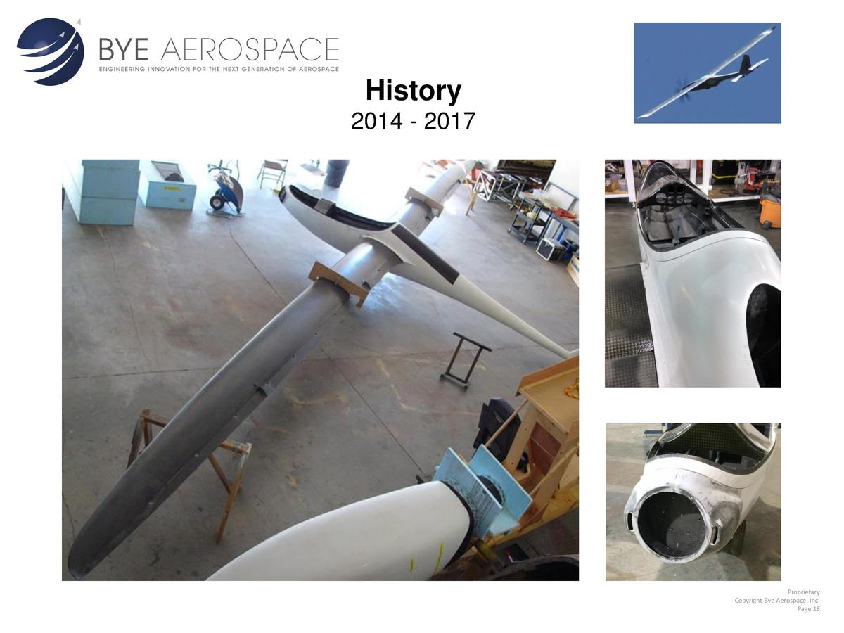 History 2014 - 2017  Proprietary Copyright Bye Aerospace, Inc. Page 18