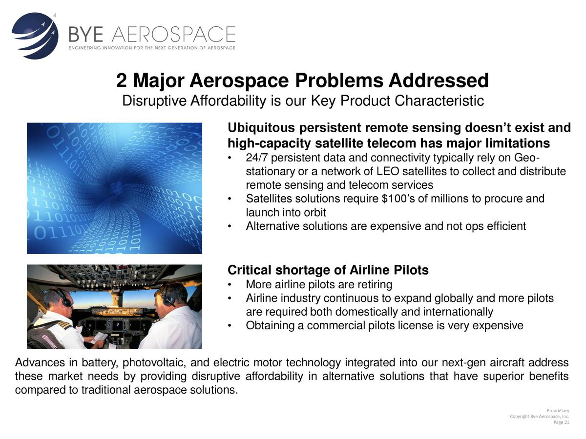2 Major Aerospace Problems Addressed Disruptive Affordability is our Key Product Characteristic Ubiquitous persistent remo...