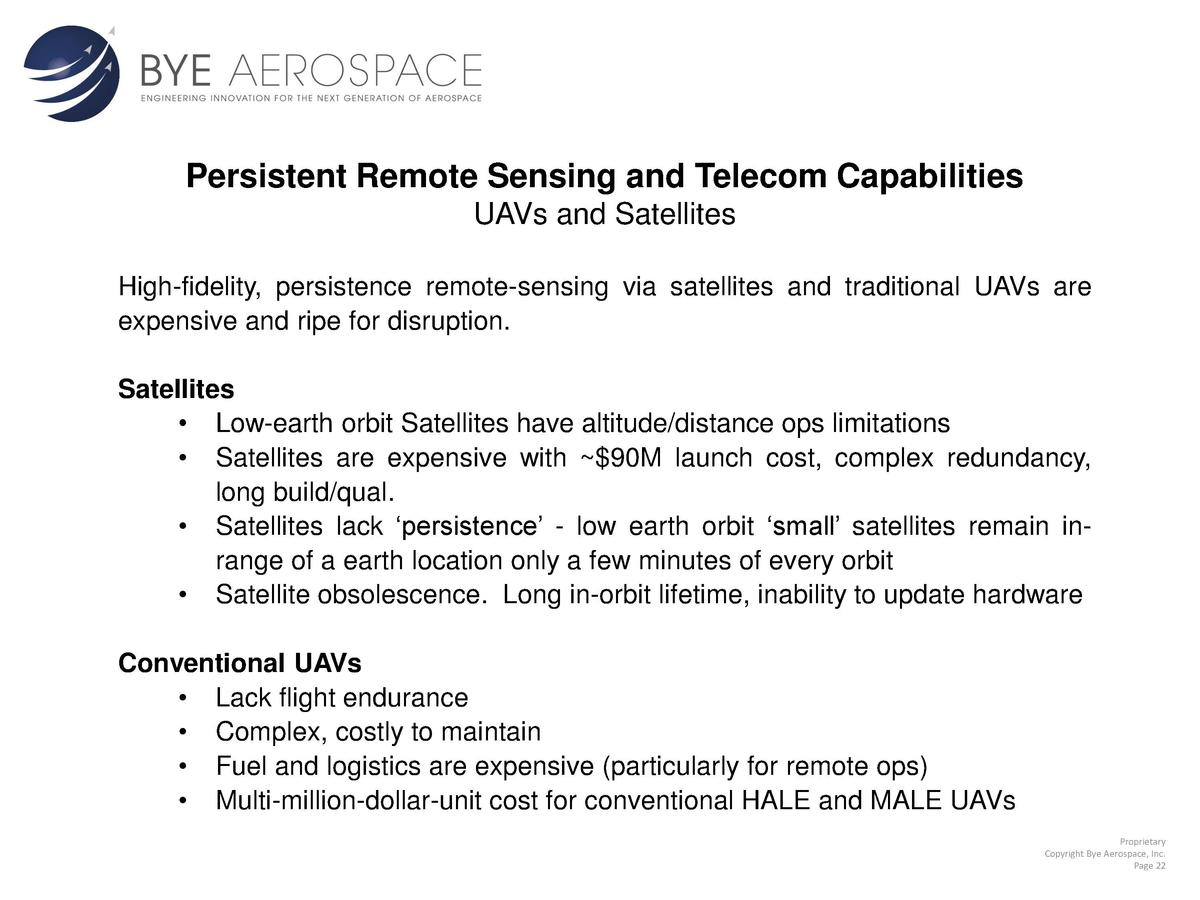 Persistent Remote Sensing and Telecom Capabilities UAVs and Satellites High-fidelity, persistence remote-sensing via satel...