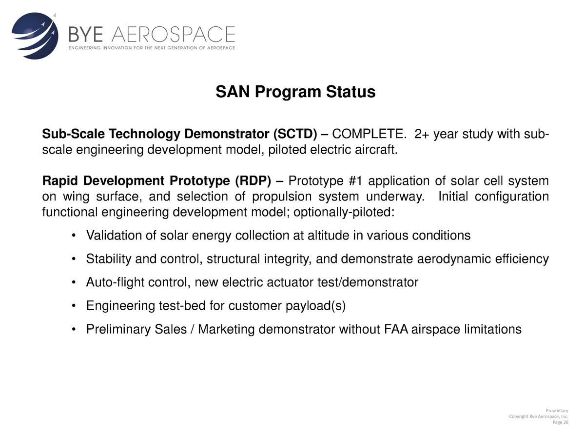 SAN Program Status Sub-Scale Technology Demonstrator  SCTD      COMPLETE. 2  year study with subscale engineering developm...