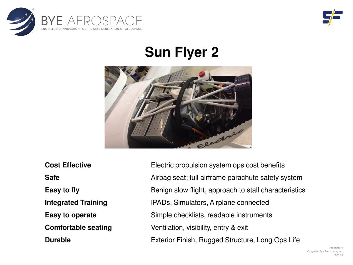 Sun Flyer 2  Cost Effective  Electric propulsion system ops cost benefits  Safe  Airbag seat  full airframe parachute safe...