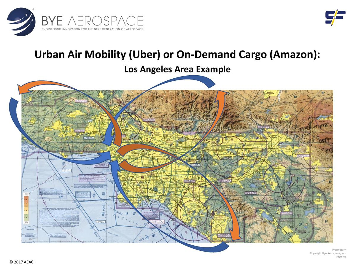 Urban Air Mobility  Uber  or On-Demand Cargo  Amazon   Los Angeles Area Example  Proprietary Copyright Bye Aerospace, Inc....