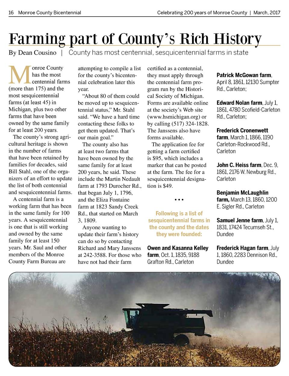 16 Monroe County Bicentennial   Celebrating 200 years of Monroe County   March, 2017  Farming part of County   s Rich Hist...