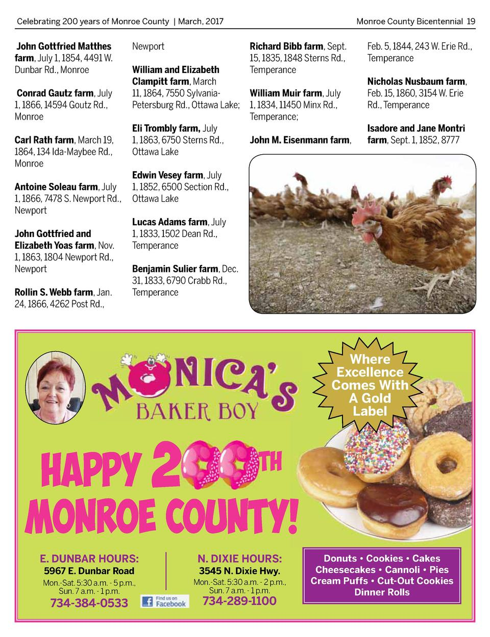 Celebrating 200 years of Monroe County   March, 2017   John Gottfried Matthes farm, July 1, 1854, 4491 W. Dunbar Rd., Monr...