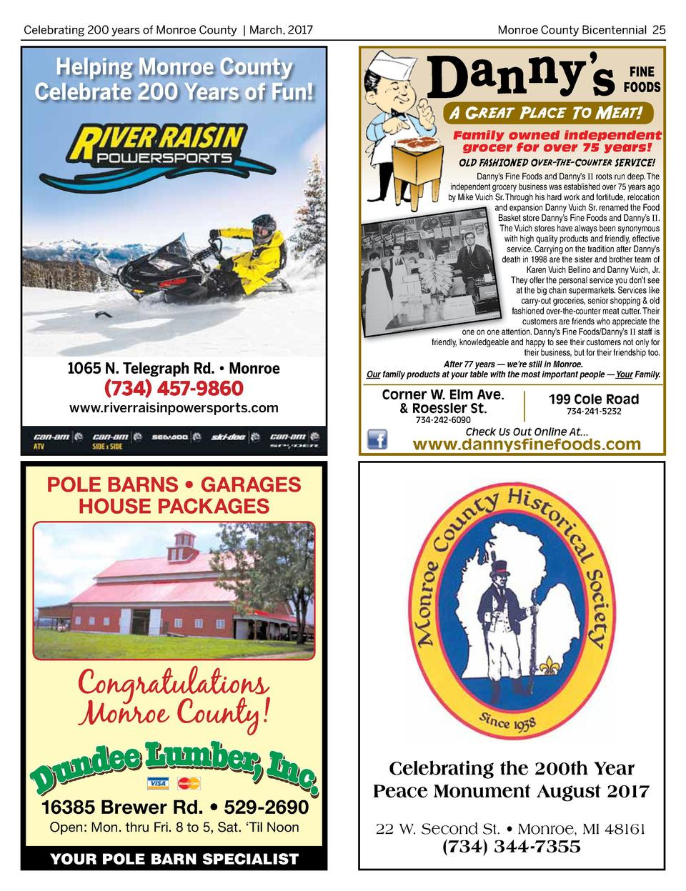 Celebrating 200 years of Monroe County   March, 2017   Monroe County Bicentennial 25  Helping Monroe County Celebrate 200 ...