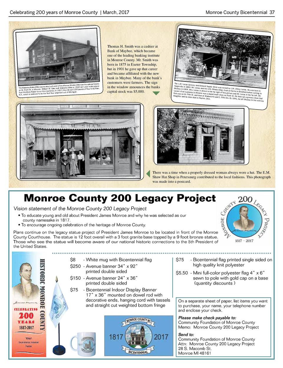 Celebrating 200 years of Monroe County   March, 2017   near the railroad tracks the Monroe Woolen Mill was located just we...