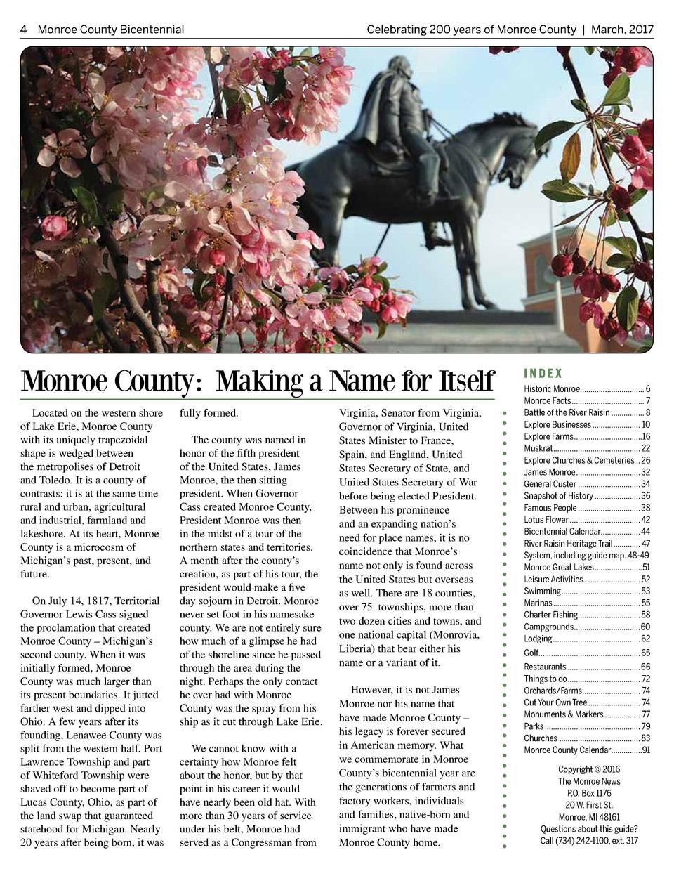 4 Monroe County Bicentennial   Celebrating 200 years of Monroe County   March, 2017  Monroe County  Making a Name for Itse...