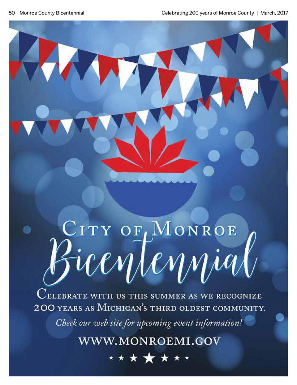 50 Monroe County Bicentennial   Celebrating 200 years of Monroe County   March, 2017