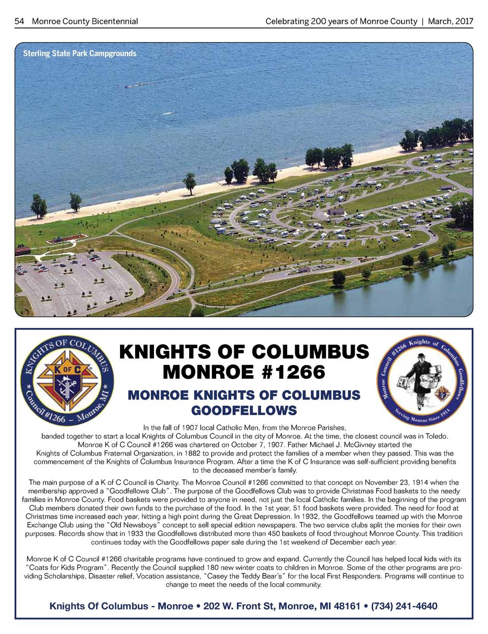 54 Monroe County Bicentennial   Celebrating 200 years of Monroe County   March, 2017  Sterling State Park Campgrounds  KNI...