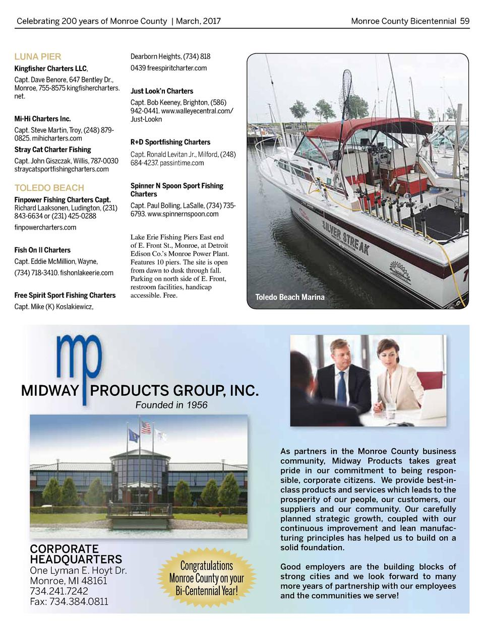 Celebrating 200 years of Monroe County   March, 2017   LUNA PIER  Dearborn Heights,  734  818  Kingfisher Charters LLC,  0...