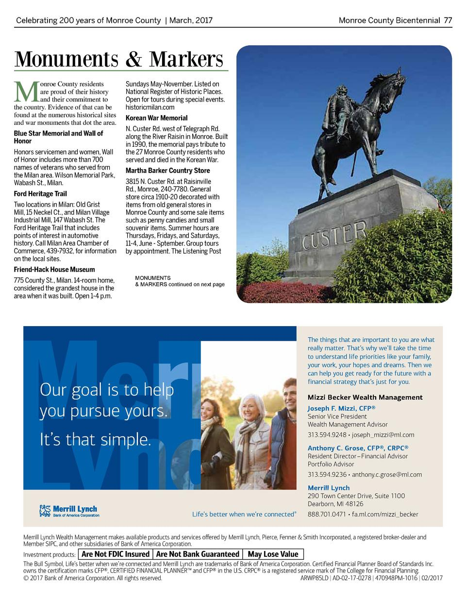 Celebrating 200 years of Monroe County   March, 2017   Monroe County Bicentennial 77  Monuments   Markers  M  onroe County...