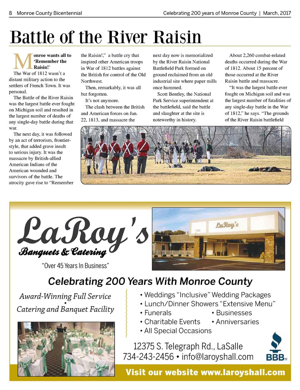 8 Monroe County Bicentennial   Celebrating 200 years of Monroe County   March, 2017  Battle of the River Raisin  M  onroe ...