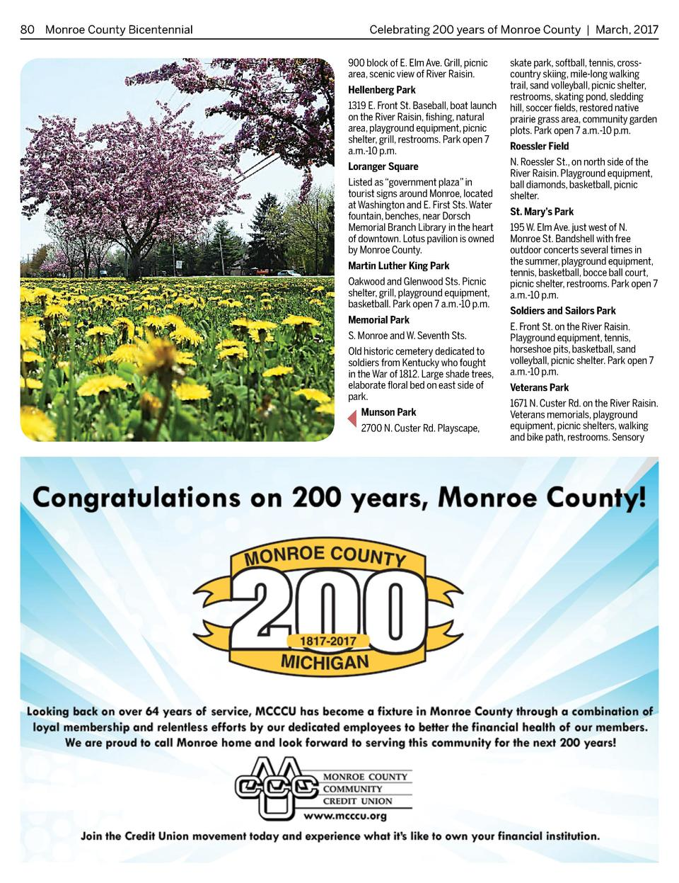 80 Monroe County Bicentennial   Celebrating 200 years of Monroe County   March, 2017 900 block of E. Elm Ave. Grill, picni...
