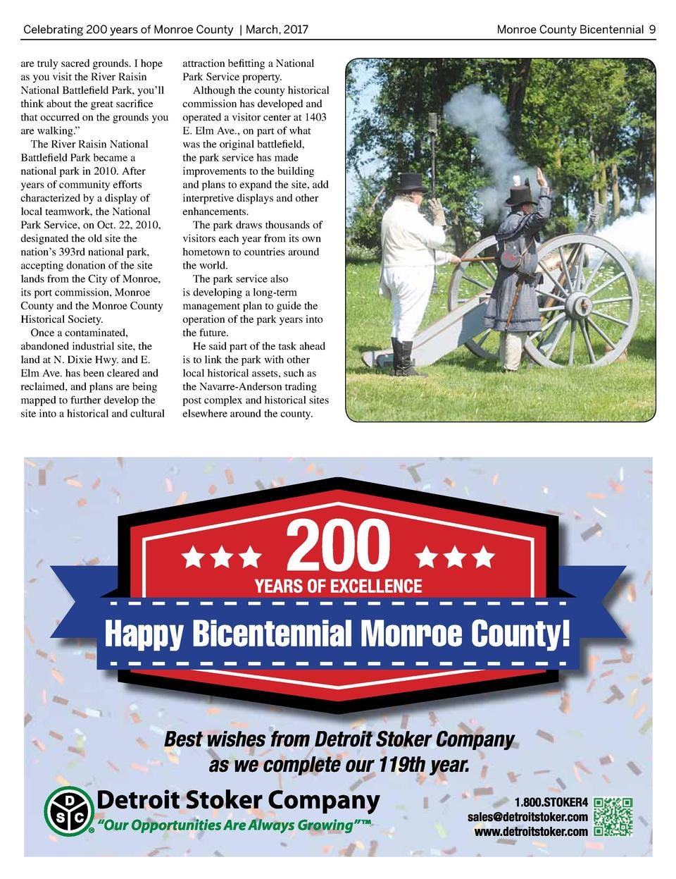 Celebrating 200 years of Monroe County   March, 2017  are truly sacred grounds. I hope as you visit the River Raisin Natio...
