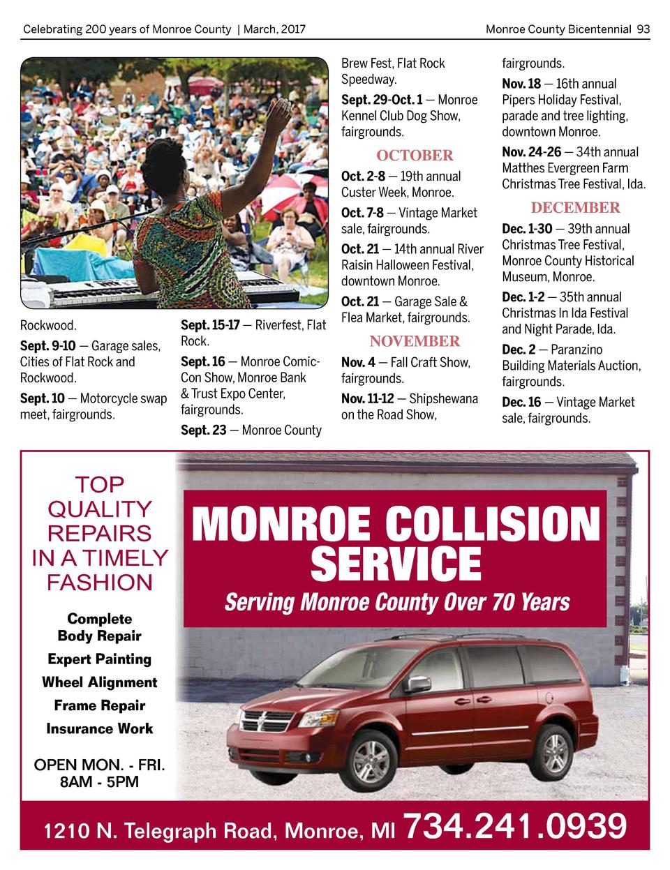 Celebrating 200 years of Monroe County   March, 2017   Monroe County Bicentennial 93  Brew Fest, Flat Rock Speedway. Sept....