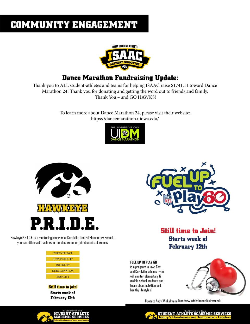 COMMUNITY ENGAGEMENT  Dance Marathon Fundraising Update  Thank you to ALL student-athletes and teams for helping ISAAC rai...