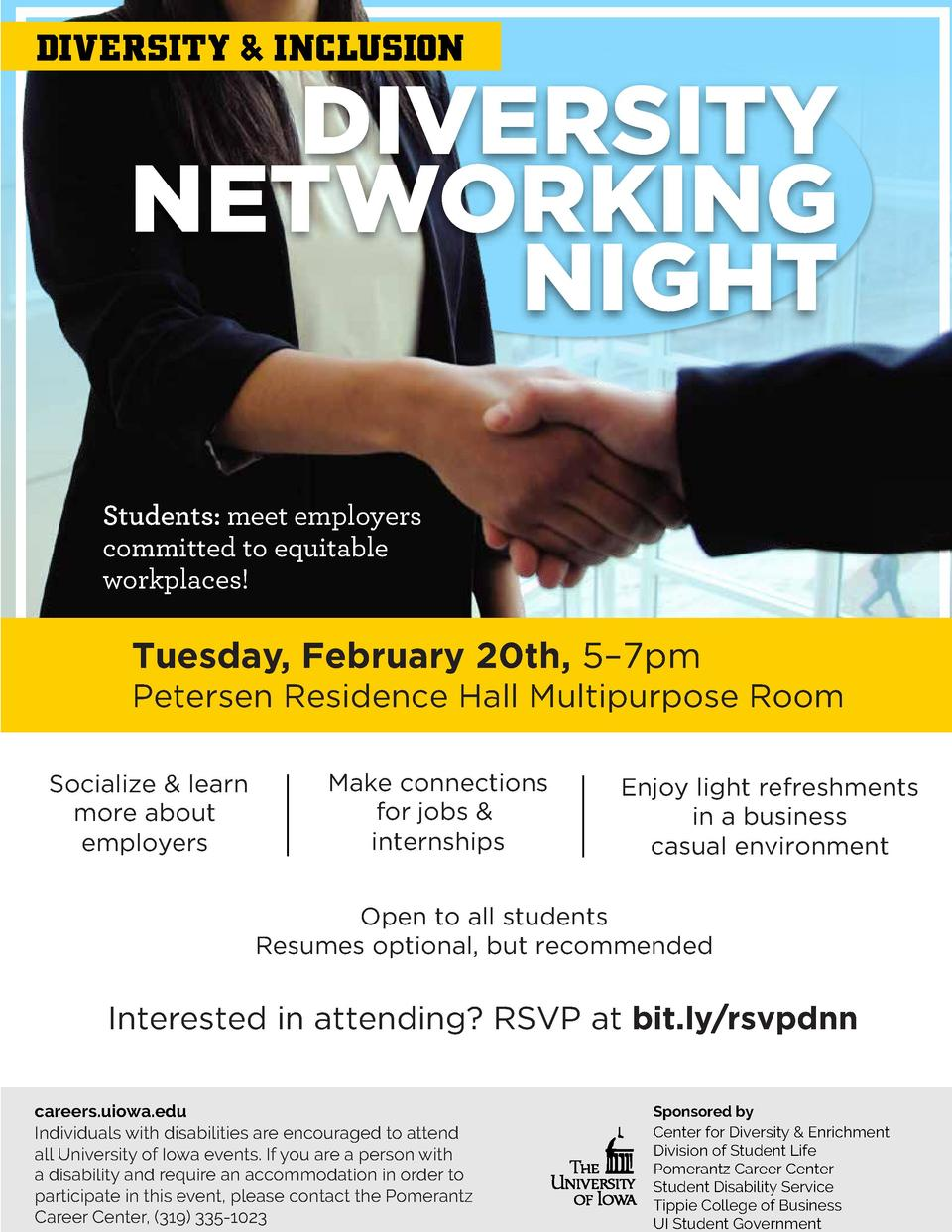 DIVERSITY   INCLUSION  DIVERSITY NETWORKING NIGHT  Students  meet employers committed to equitable workplaces   Tuesday, F...