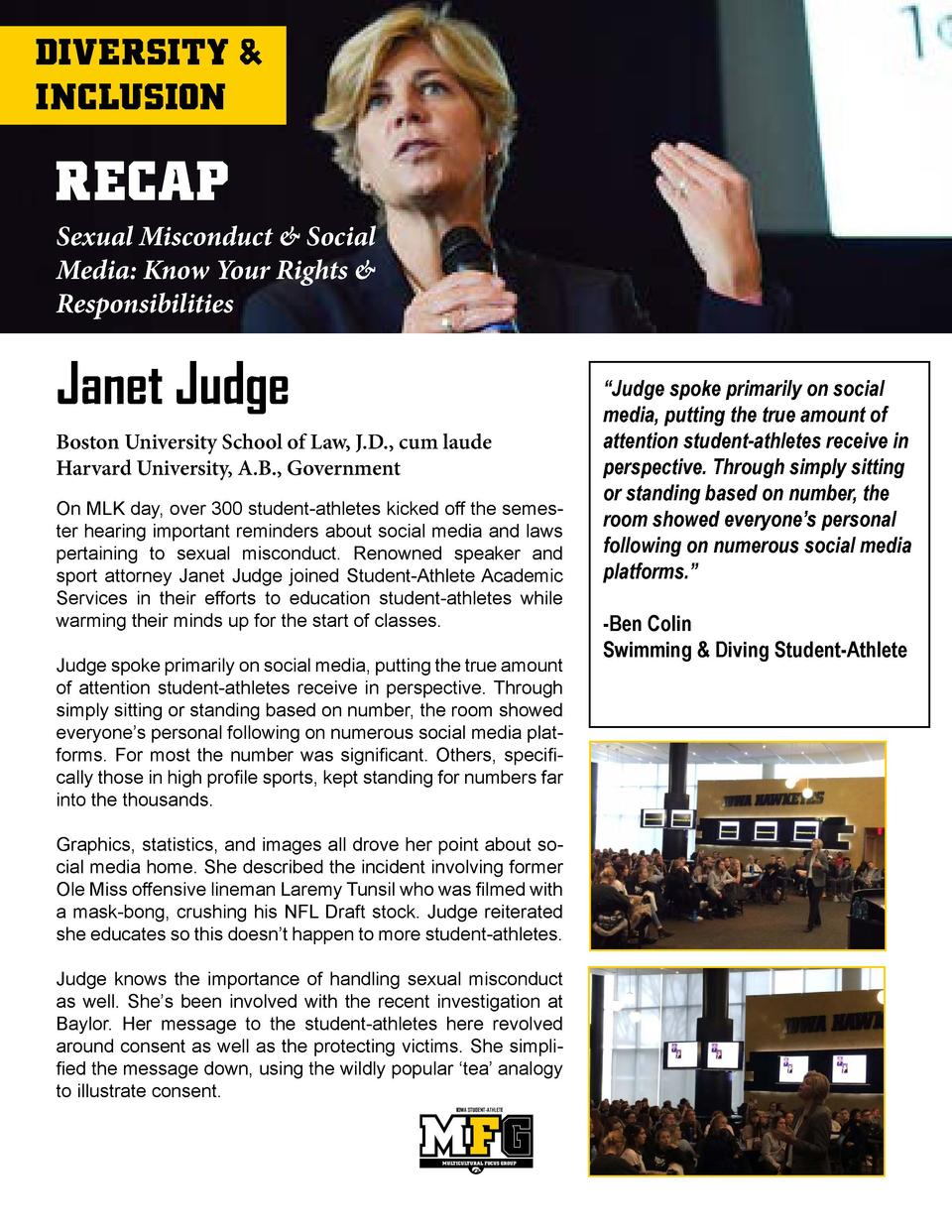 DIVERSITY   INCLUSION  RECAP Sexual Misconduct   Social Media  Know Your Rights   Responsibilities  Janet Judge Boston Uni...