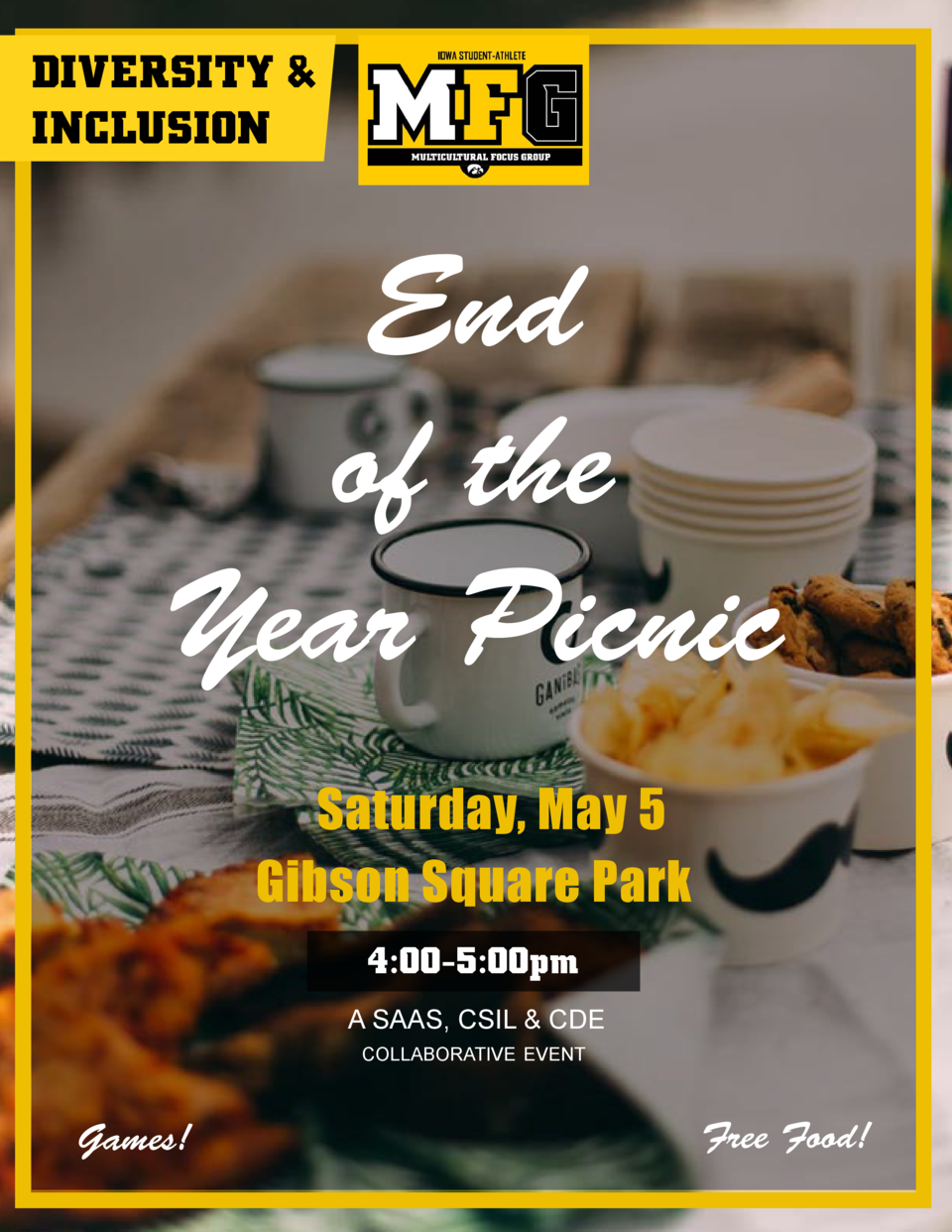 DIVERSITY   INCLUSION  End of the Year Picnic Saturday, May 5 Gibson Square Park 4 00-5 00pm A SAAS, CSIL   CDE CoLLAborAt...