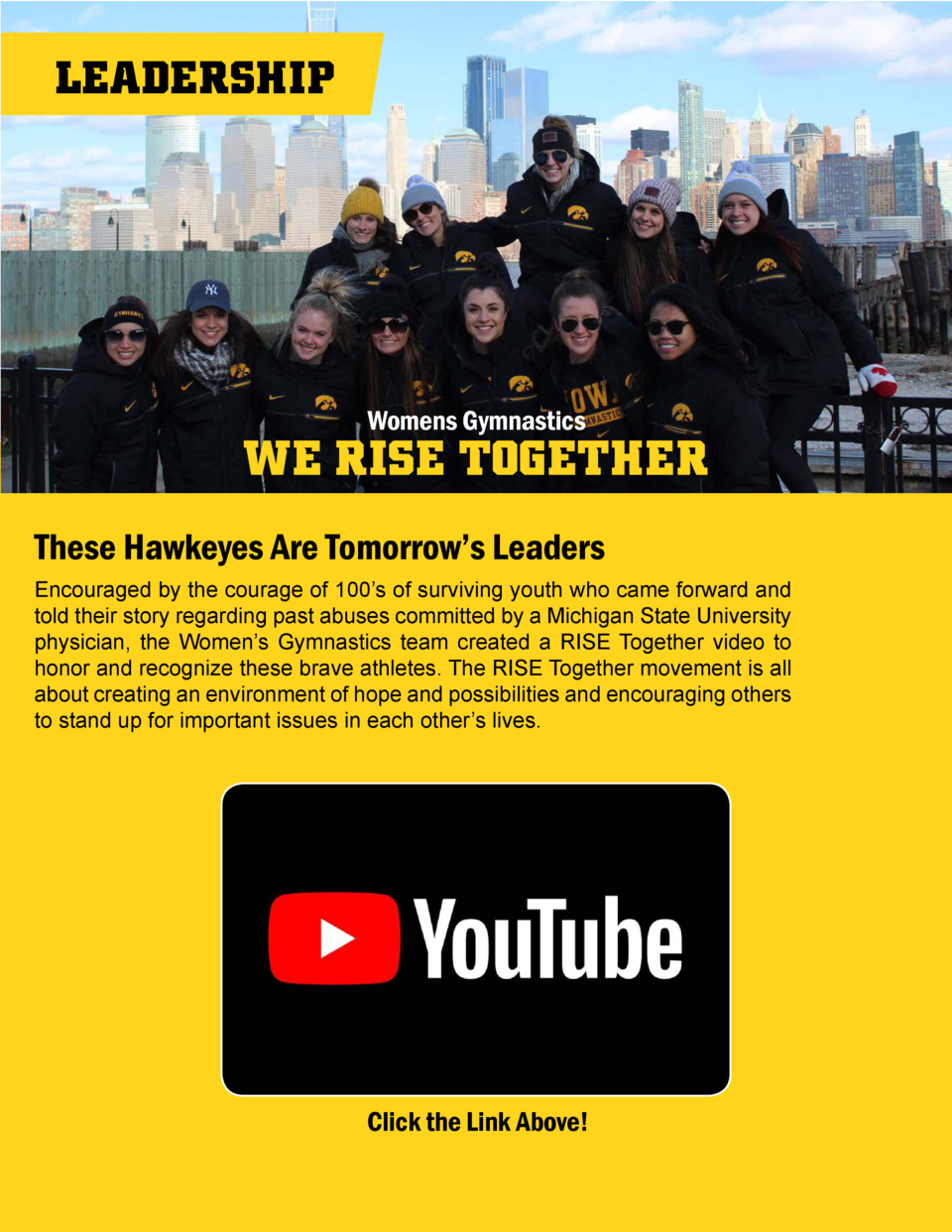 LEADERSHIP  Womens Gymnastics  WE RISE TOGETHER These Hawkeyes Are Tomorrow   s Leaders Encouraged by the courage of 100  ...