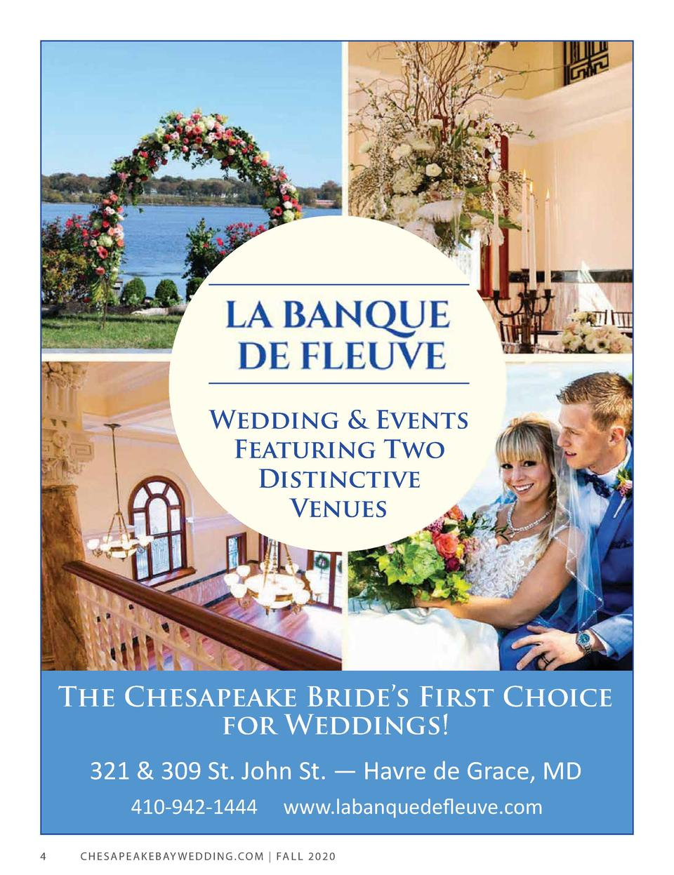 Wedding   Events Featuring Two Distinctive Venues  The Chesapeake Bride   s First Choice for Weddings  321   309 St. John ...