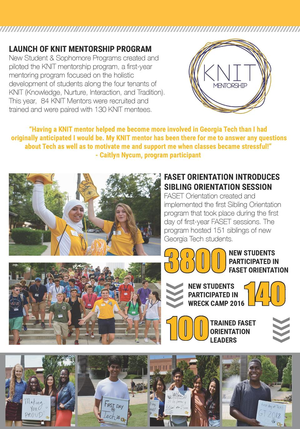 LAUNCH OF KNIT MENTORSHIP PROGRAM  New Student   Sophomore Programs created and piloted the KNIT mentorship program, a fir...