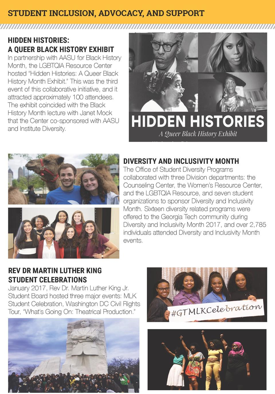 STUDENT INCLUSION, ADVOCACY, AND SUPPORT HIDDEN HISTORIES  A QUEER BLACK HISTORY EXHIBIT  In partnership with AASU for Bla...