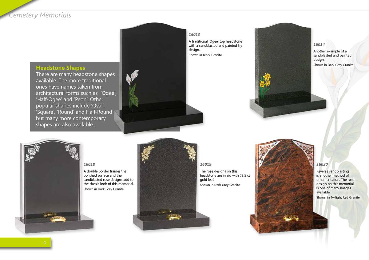 Cemetery Memorials 16013 A traditional    Ogee    top headstone with a sandblasted and painted lily design. Shown in Black...
