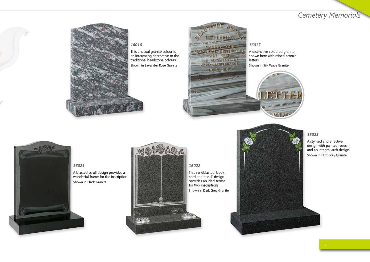 Cemetery Memorials  16016  16017  This unusual granite colour is an interesting alternative to the traditional headstone c...